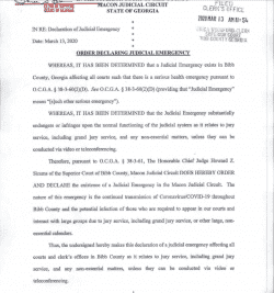 Bibb County Superior Court: Order Declaring Judicial Emergency
