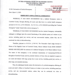 Crawford County Superior Court: Order Declaring Judicial Emergency