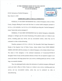 Fulton County Superior Court: Order Declaring Judicial Emergency