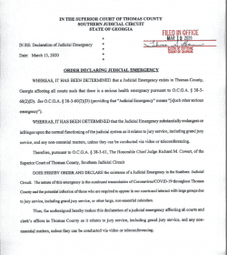 Thomas County Superior Court: Order Declaring Judicial Emergency