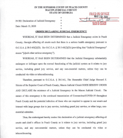 Peach County Superior Court: Order Declaring Judicial Emergency