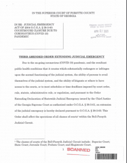Forsyth County Superior Court: Amended Order Extending Judicial Emergency