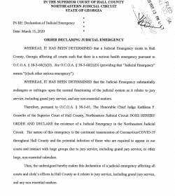 Hall County Superior Court: Order Declaring Judicial Emergency