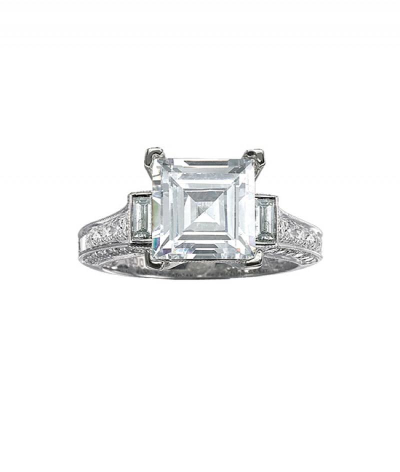 Diamond Engagement Ring in 18K White Gold, .97 CT TDW. (Center stone sold separately)