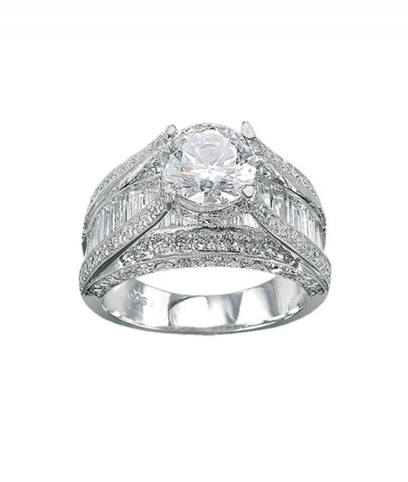 Diamond Wedding Ring by J.B. Star in Platinum, 3.01 CT TDW. (Center stone sold separately)