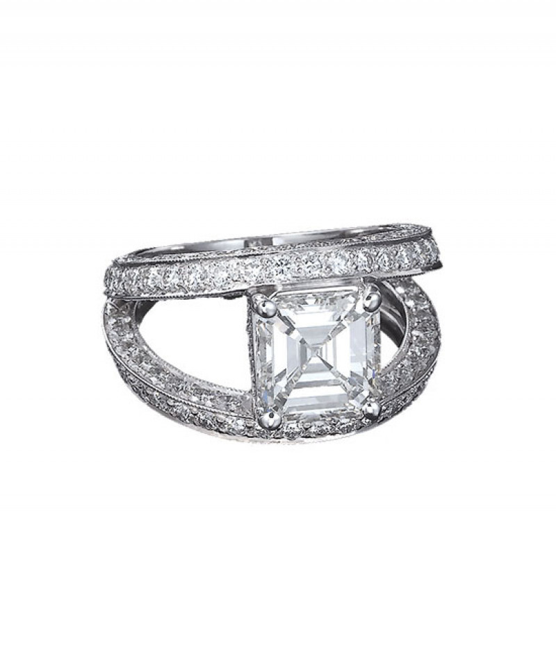 Diamond Wedding Ring Semi Mount by J.B. Star in Platinum, 2.12 TDW featuring a 2.39CT Asscher Cut Center Diamond (Sold separately)