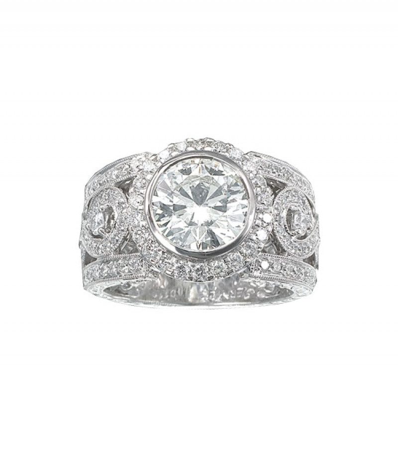 Diamond Wedding Ring in 18K White Gold, 1.16 CT TDW. (Center stone sold separately)
