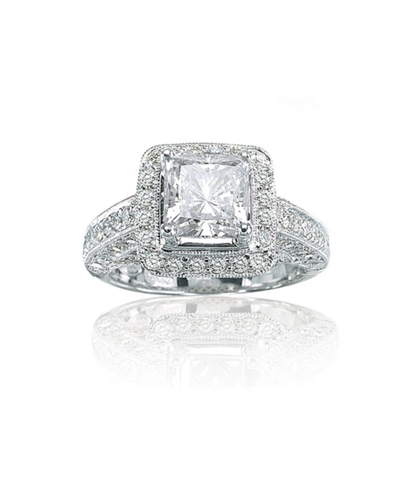 Diamond Wedding Ring in 18K White Gold, 1.0 CT TW. (Center stone sold separately)