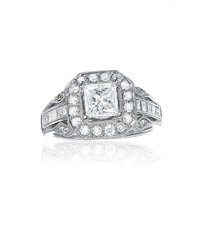 Diamond Wedding Ring in 18K White Gold Ring, 1.0 CT TW (Center stone sold separately)