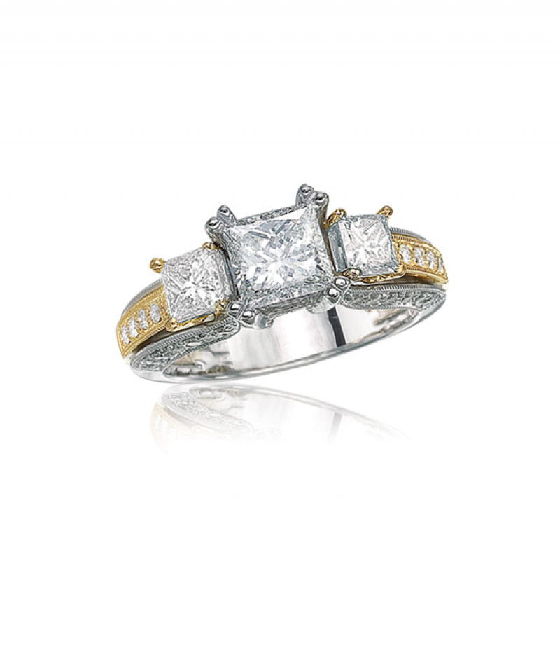 Diamond Wedding Ring in 18K White and Yellow Gold, 1 1/4 CT TW. (Center stone sold separately)
