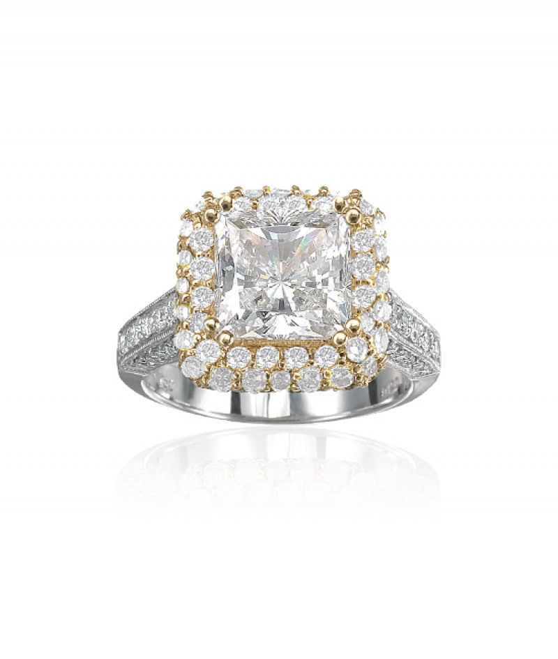 Diamond Wedding Ring in 18K White and Yellow Gold, 1 5/8 CT TW. (Center stone sold separately)