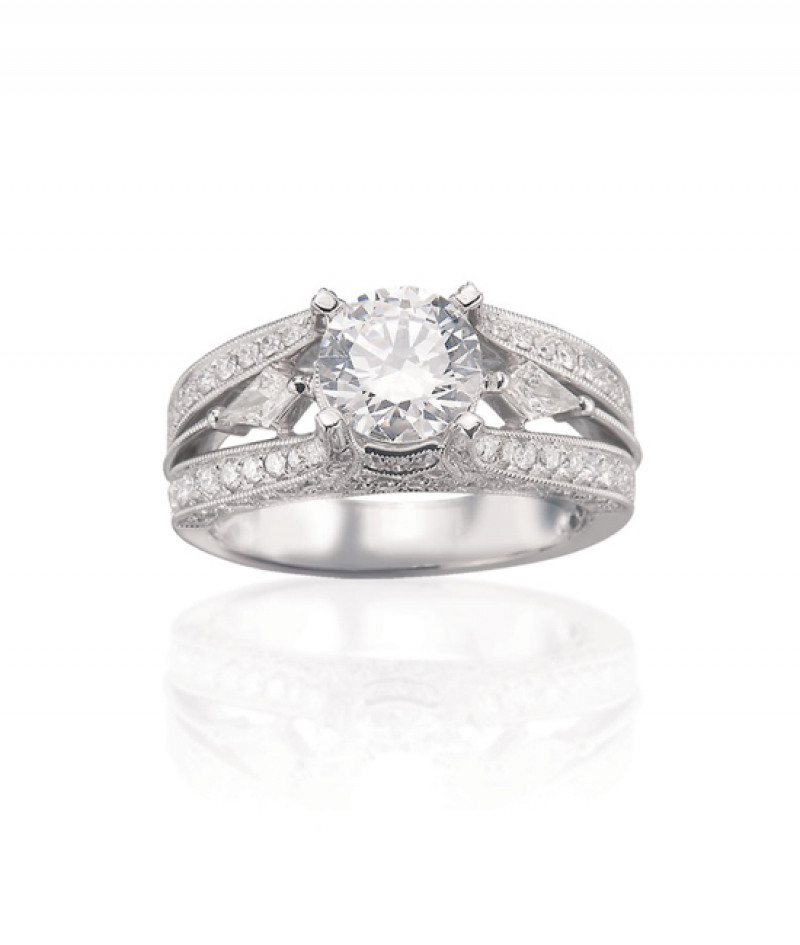 Diamond Wedding Ring in 18K White Gold, .96 CT TW. (Center stone sold separately)