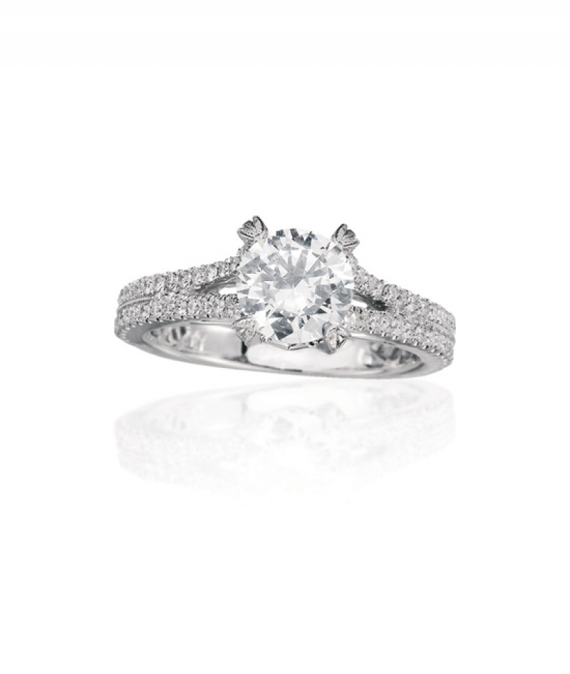 Diamond Wedding Ring by A. Jaffe in 18K White Gold, .34 CT TW. (Center stone sold separately)