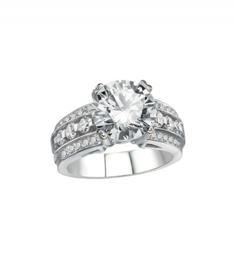 Diamond Wedding Ring in 18K White Gold, 1.15 CT TW (Center stone sold separately)