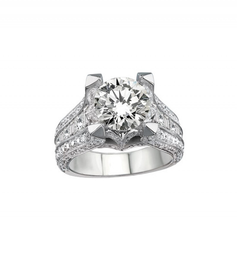 Diamond Wedding Ring in 18K White Gold, 2.46 CT TW (Center stone sold separately)