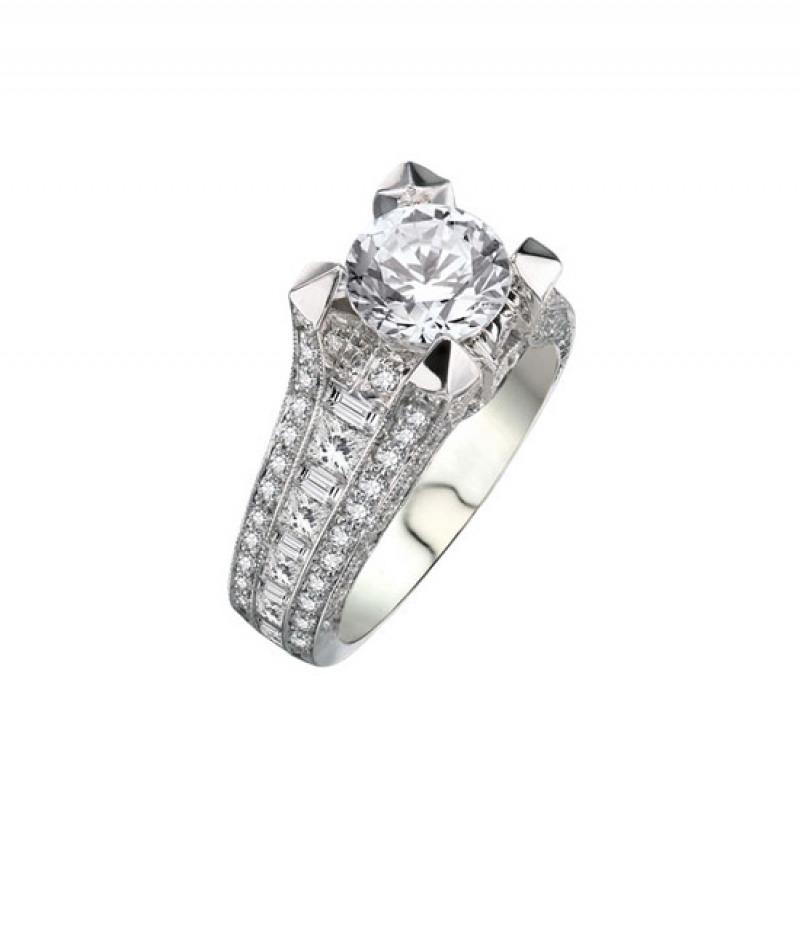Diamond Wedding Ring in 18K White Gold (Center stone sold separately)