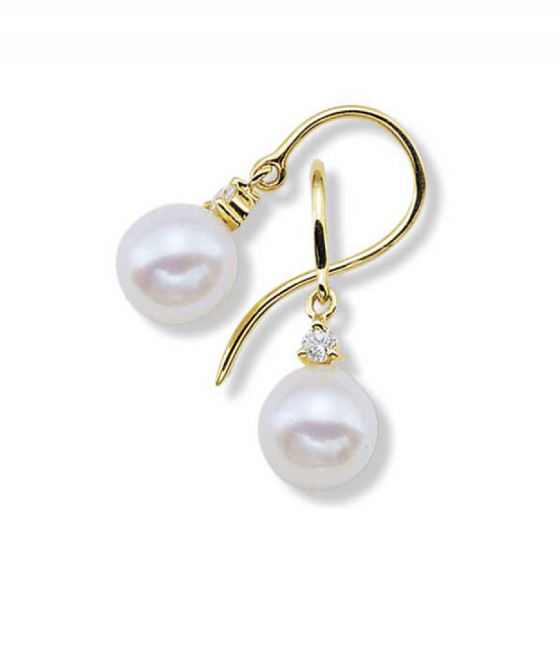 Pearl & Diamond Earrings in 18K Yellow Gold, 7.0mm Pearls and .08 TDW