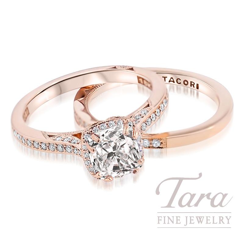 Forevermark Cushion Cut Diamond Ring, 1.02CT H/VS2 Center set in 18K Rose Gold Tacori Mounting