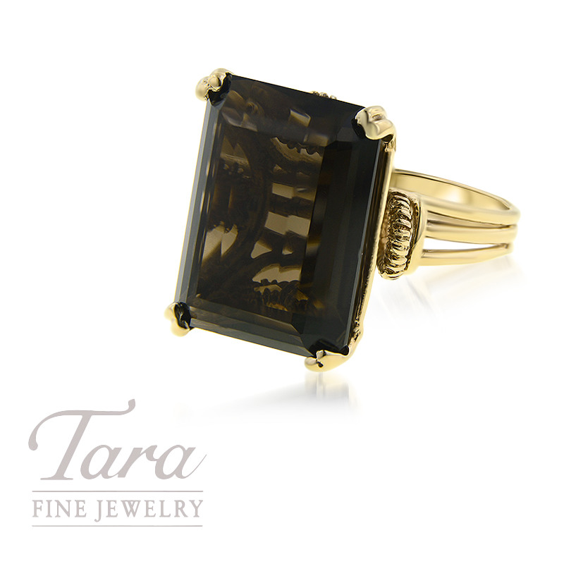 10K Yellow Gold Smokey Quartz Ring