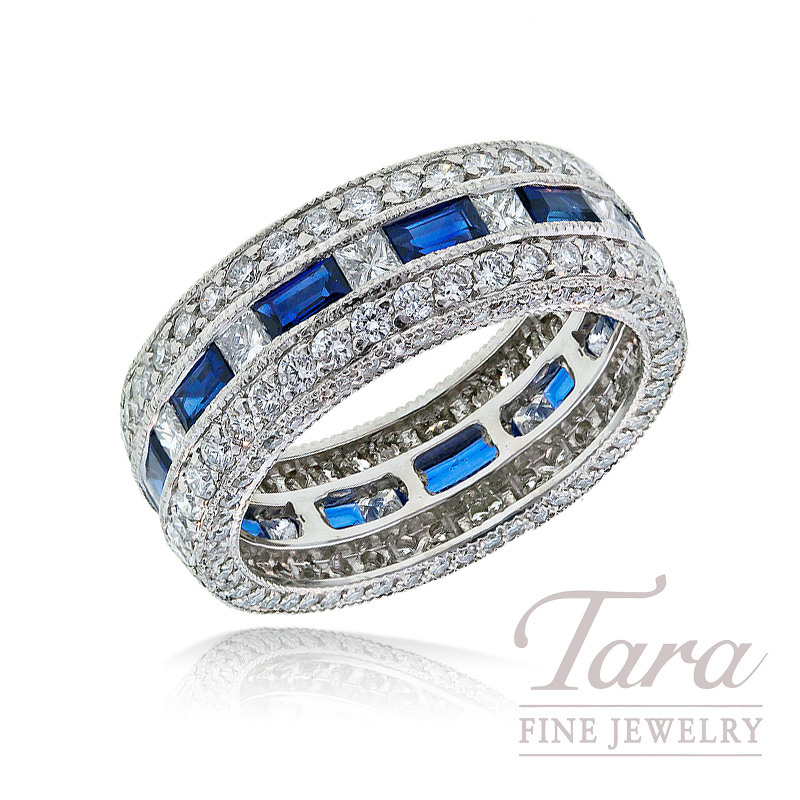 J.B. Star Diamond and Sapphire Band in Platinum, 1.99 TDW