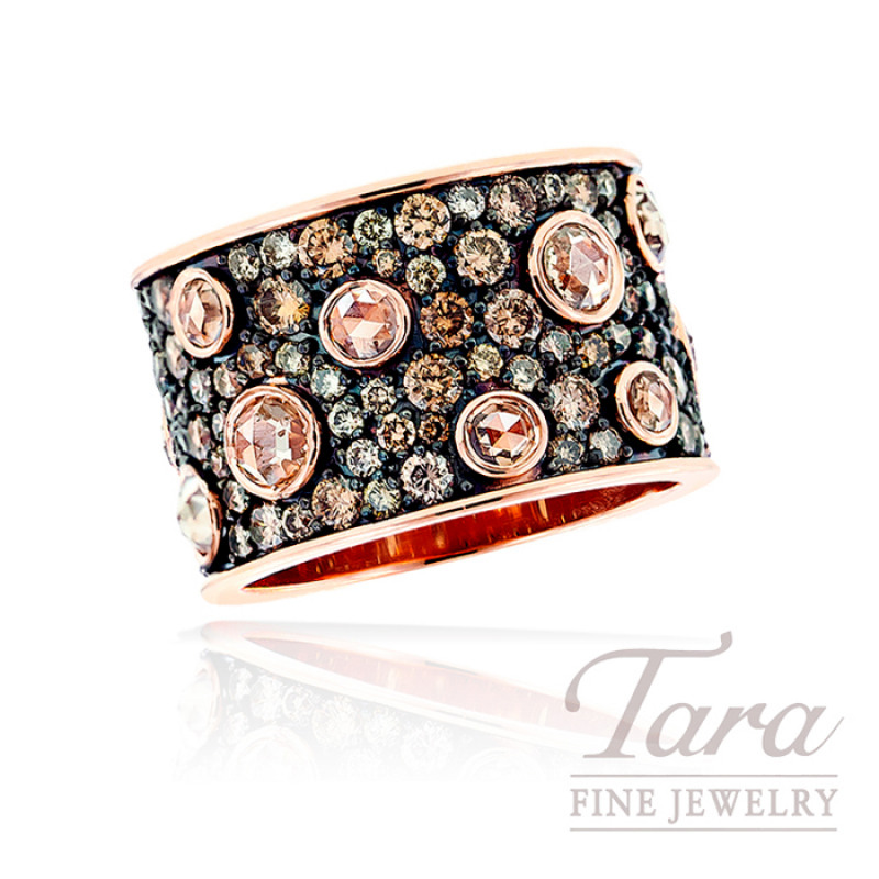 Norman Covan Cognac Diamond Ring in 18K Rose Gold, 2.70 TDW.