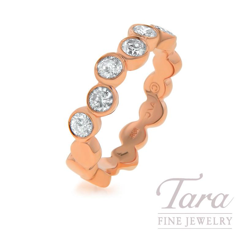 18k Rose Gold Ladies Diamond Circle Pattern Band, .74TDW