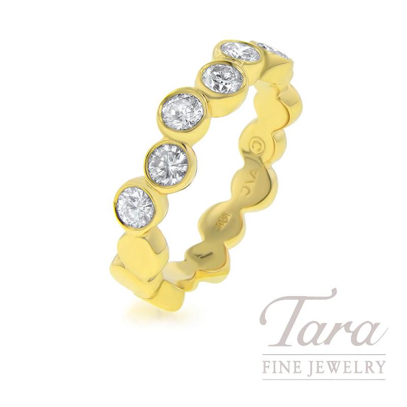 18k Yellow Gold Ladies Diamond Band Circle Pattern, .74TDW