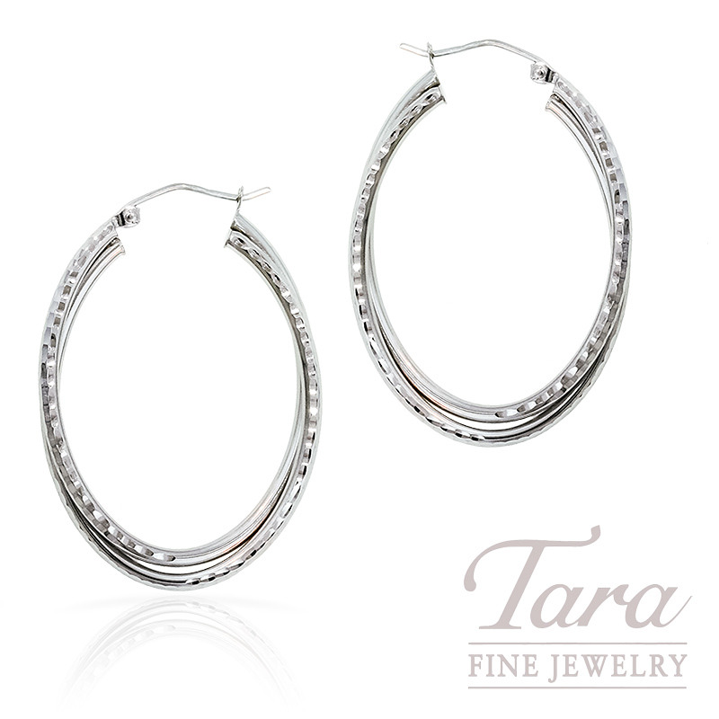Hoop Earrings in 14K White Gold Diamond Cut,  3.5 Grams