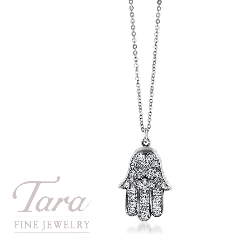 14K White Gold Hamsa Pendant and Chain .33TDW