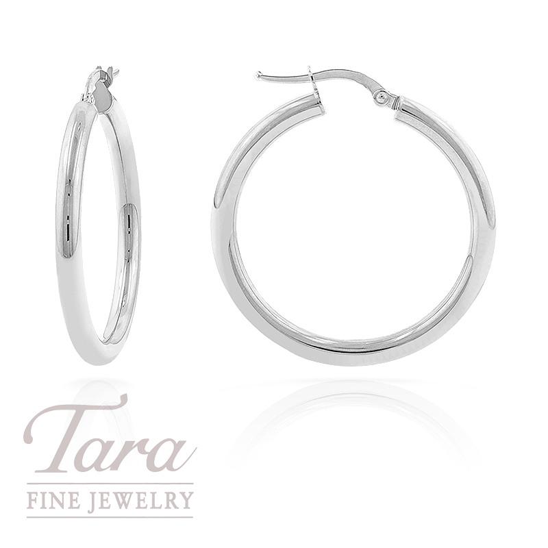 14K White Gold Hoop Earrings, 3.3G