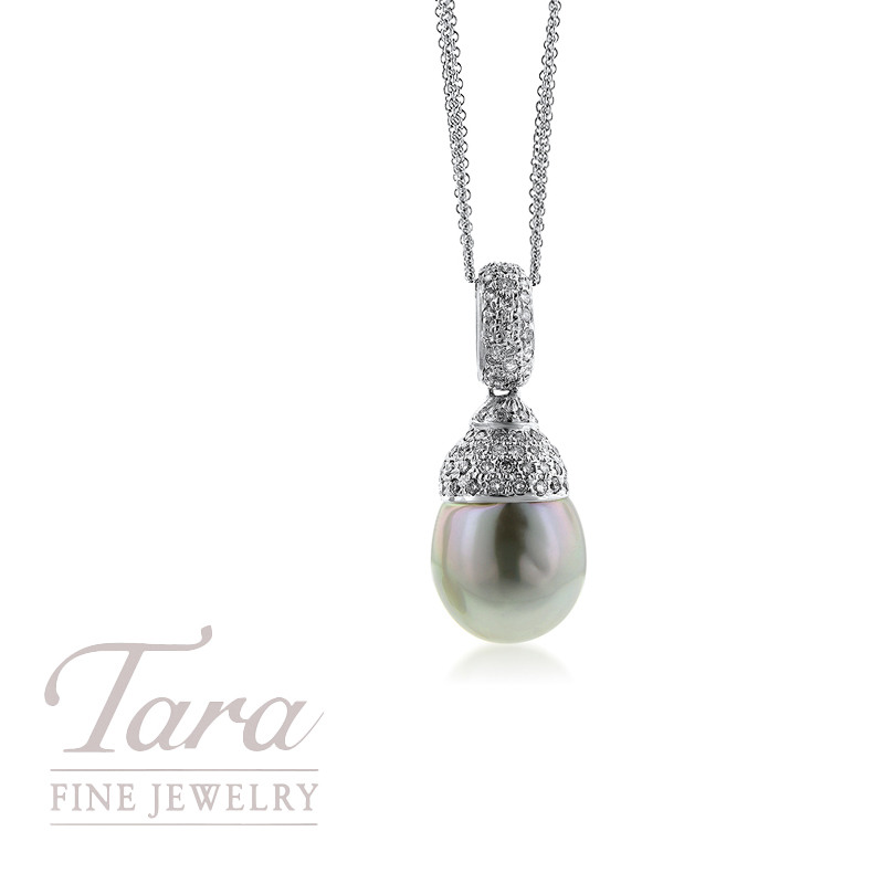 14K White Gold Pearl and Diamond Pendant .50TDW (Chain Not Included)