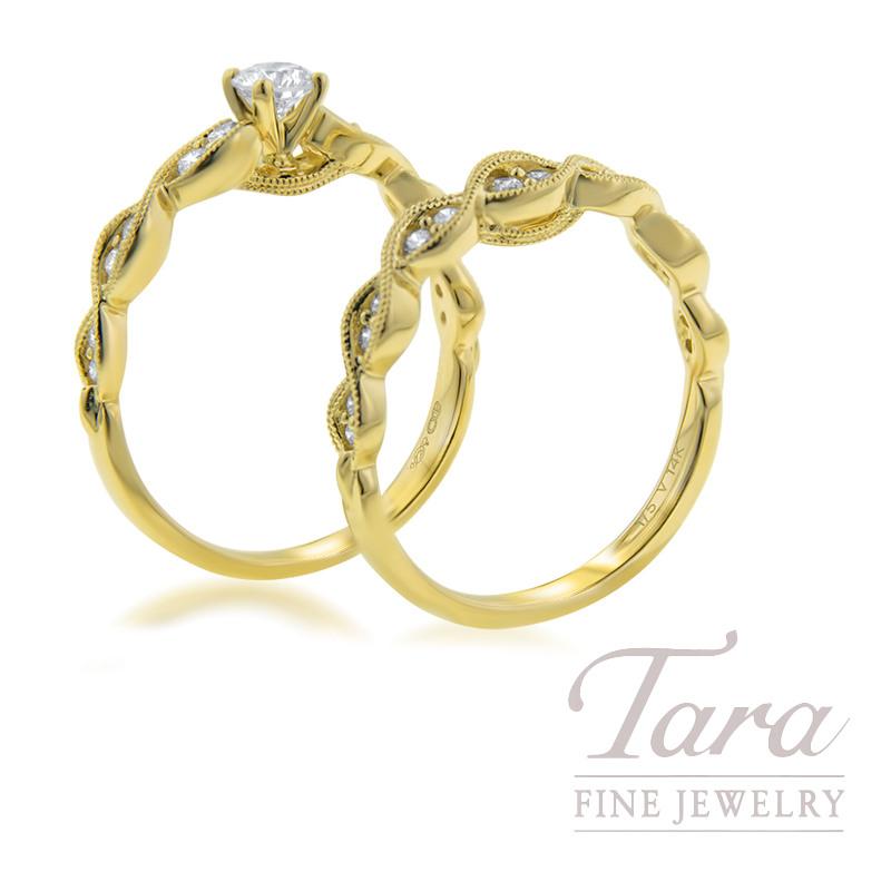 14k Yellow Gold Diamond Wedding Set, .25CT Semi-Mount Center