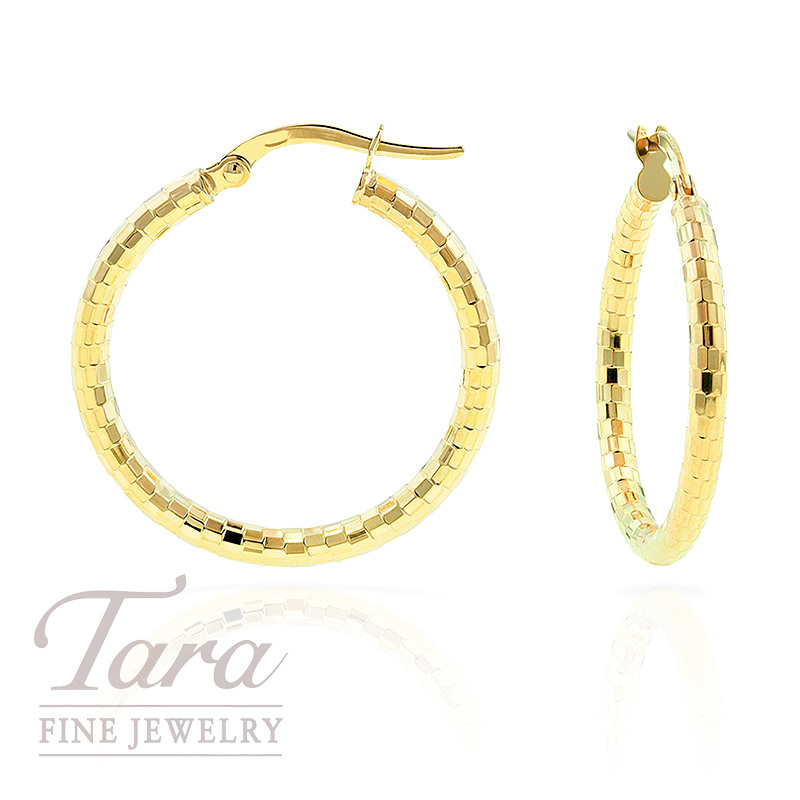 Hoop Earrings in 14k Faceted Yellow Gold, 2.1 grams