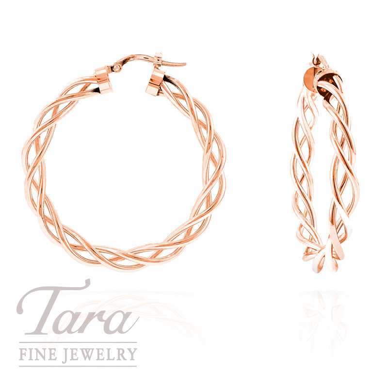 14k Rose Gold Twisted Hoop Earrings 2 7g
