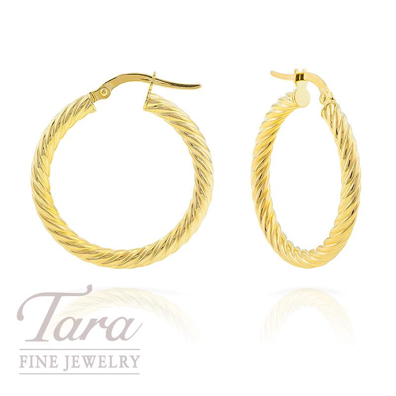 Hoop Earrings in 14k Twisted Yellow Gold 1.9 grams