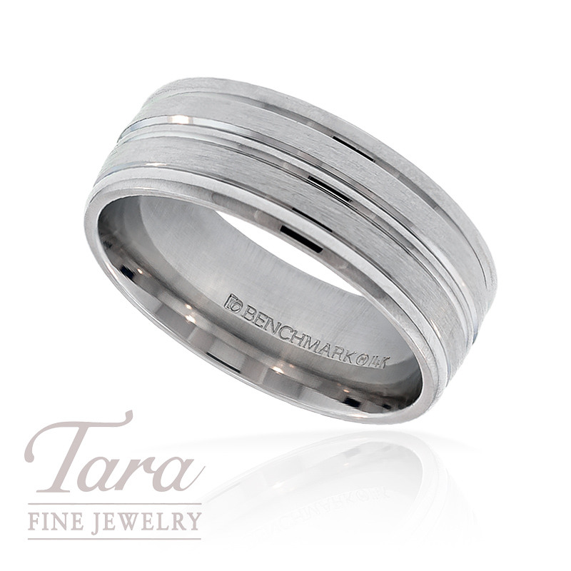 Men's Wedding Band in 14k White Gold, 8mm,  Size 10, 10.7G
