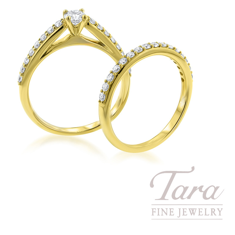 14k Yellow Gold Diamond Wedding Set, .25CT Center