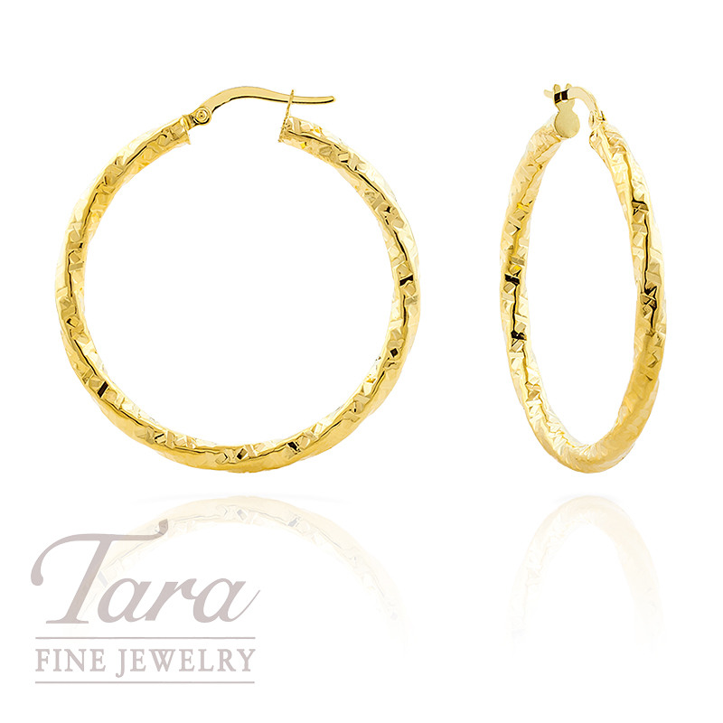 14k Yellow Gold Twist Diamond Cut Hoop Earrings