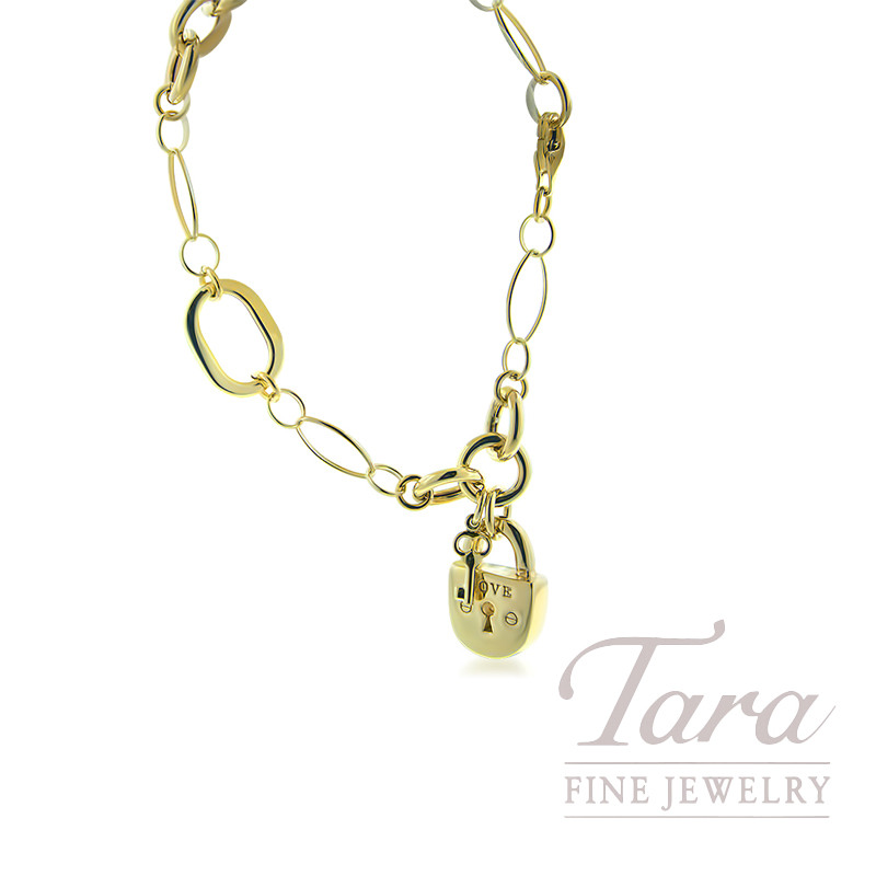 14K Yellow Gold Charm Bracelet With Lock and Key