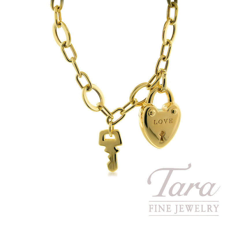 14k Yellow Gold Charm Bracelet With Lock Key