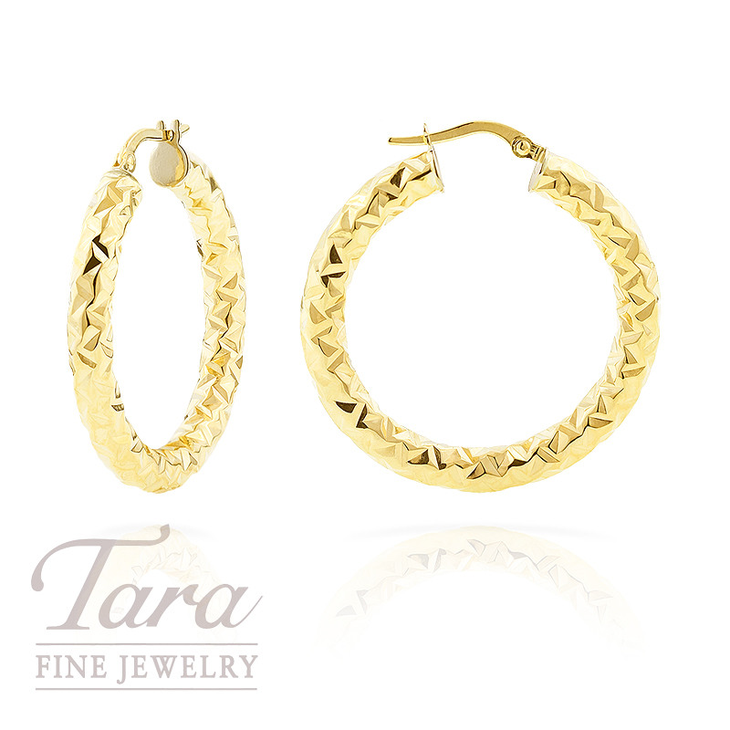 Diamond Cut Hoop Earrings in 14K Yellow Gold, 2.2 grams