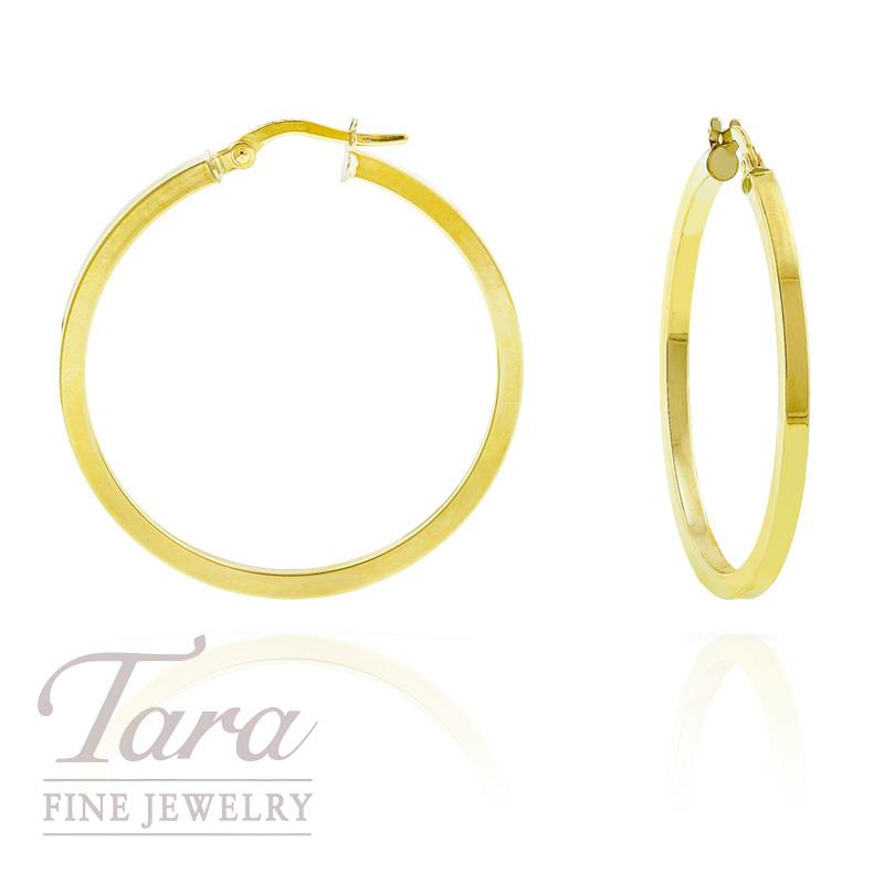 14k Yellow Gold Flat Hoop Earrings Tara Fine Jewelry
