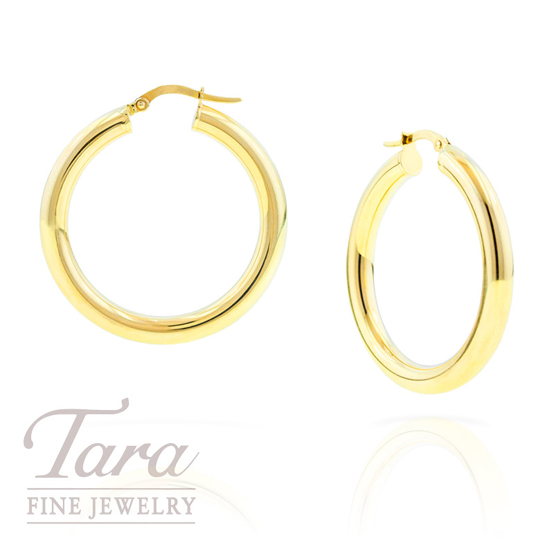 Italian Hoops in 14k Yellow Gold, 4.0 grams