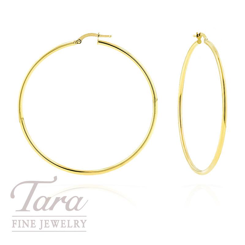 Large Hoop Earrings in 14k Yellow Gold,  2.9 grams