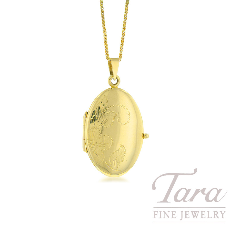 14K Yellow Gold Oval Shaped Locket