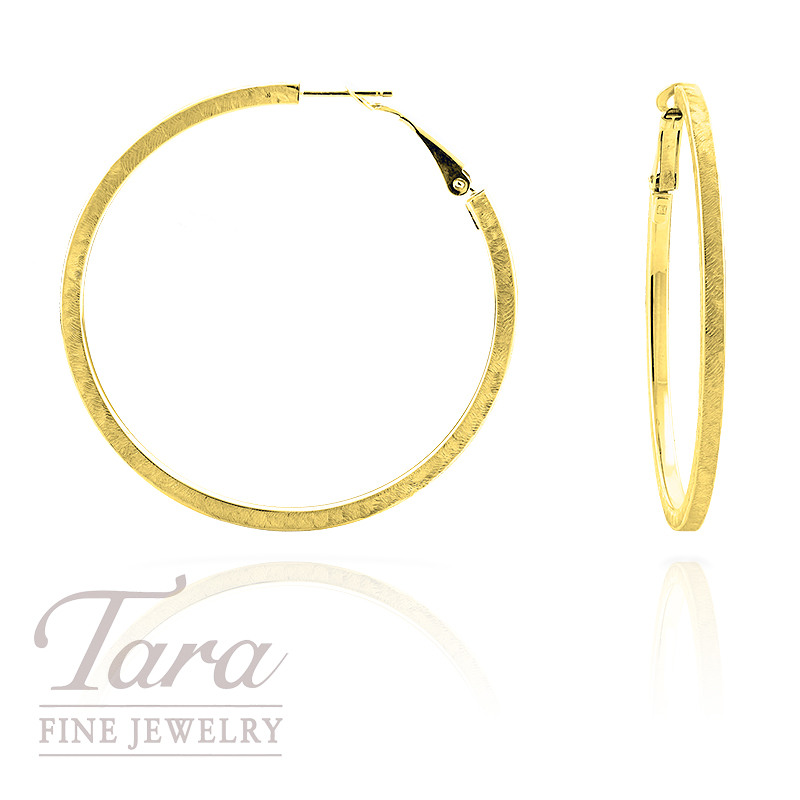 Satin Hoop Earrings in 14k Yellow Gold, 4.8 gram