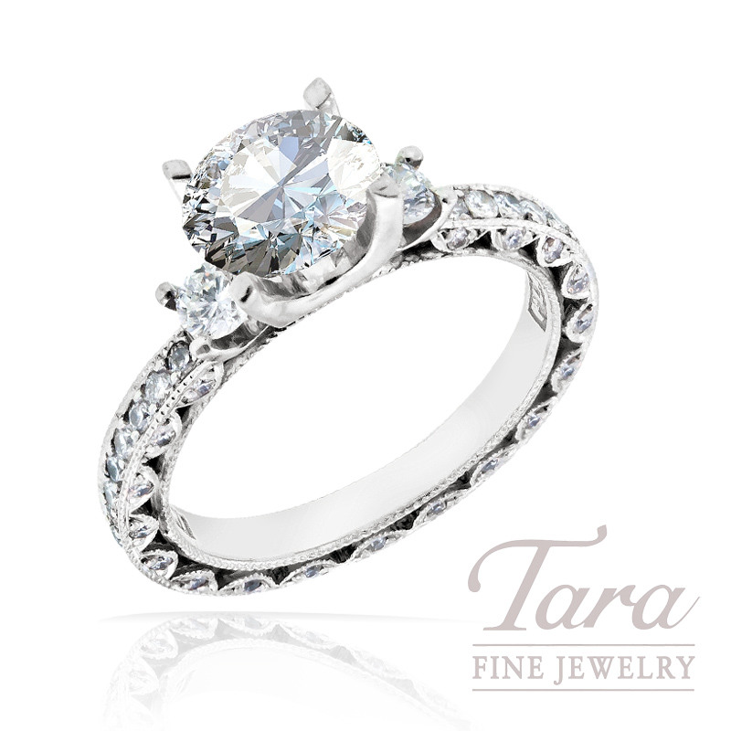 Tacori Diamond Engagement Ring in Platinum, .90 TDW (Center stone sold separately)