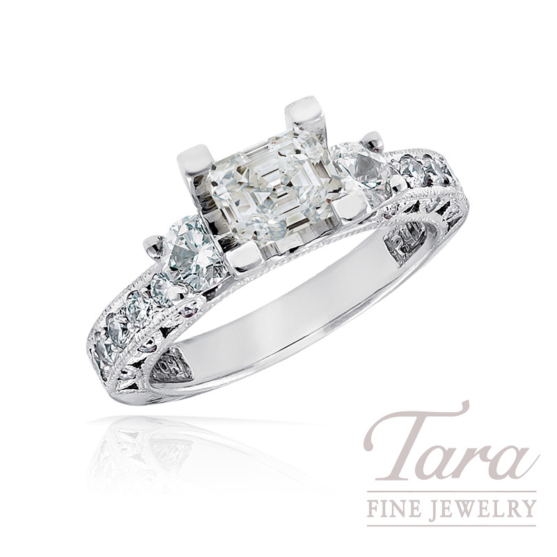 Tacori Diamond Engagement Ring in Platinum, .85 TDW (Center stone sold separately)