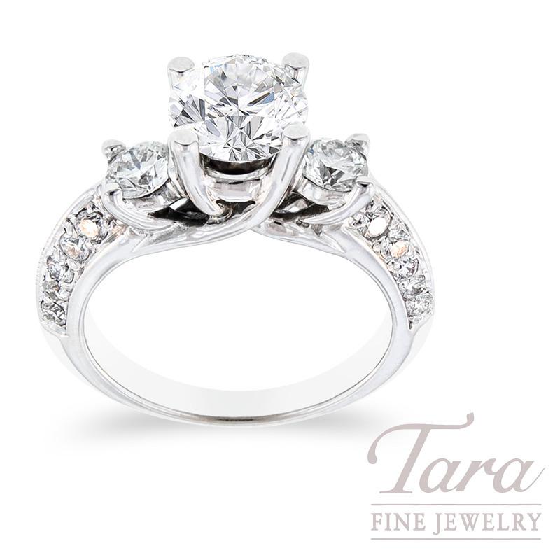Diamond Engagement Ring in 18K White Gold, .88 TDW (Center stone sold separately)