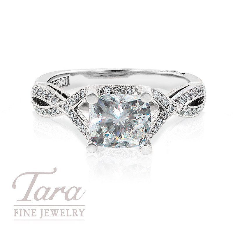 Tacori Diamond Engagement Ring in Platinum, .22ct tdw Or 18K White Gold .21TDW(Center stone sold separately)
